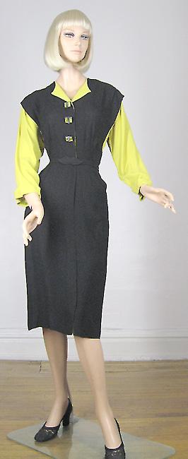 40s glamorous yellow and black dress