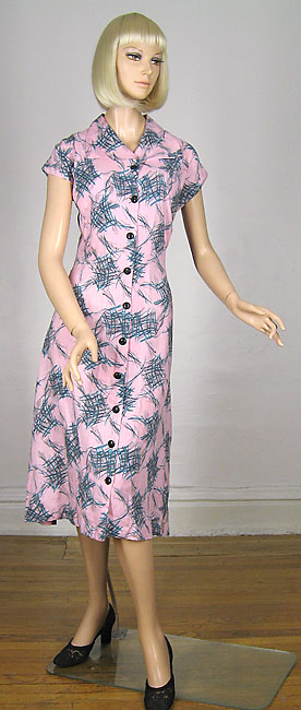 pink and black abstract dress
