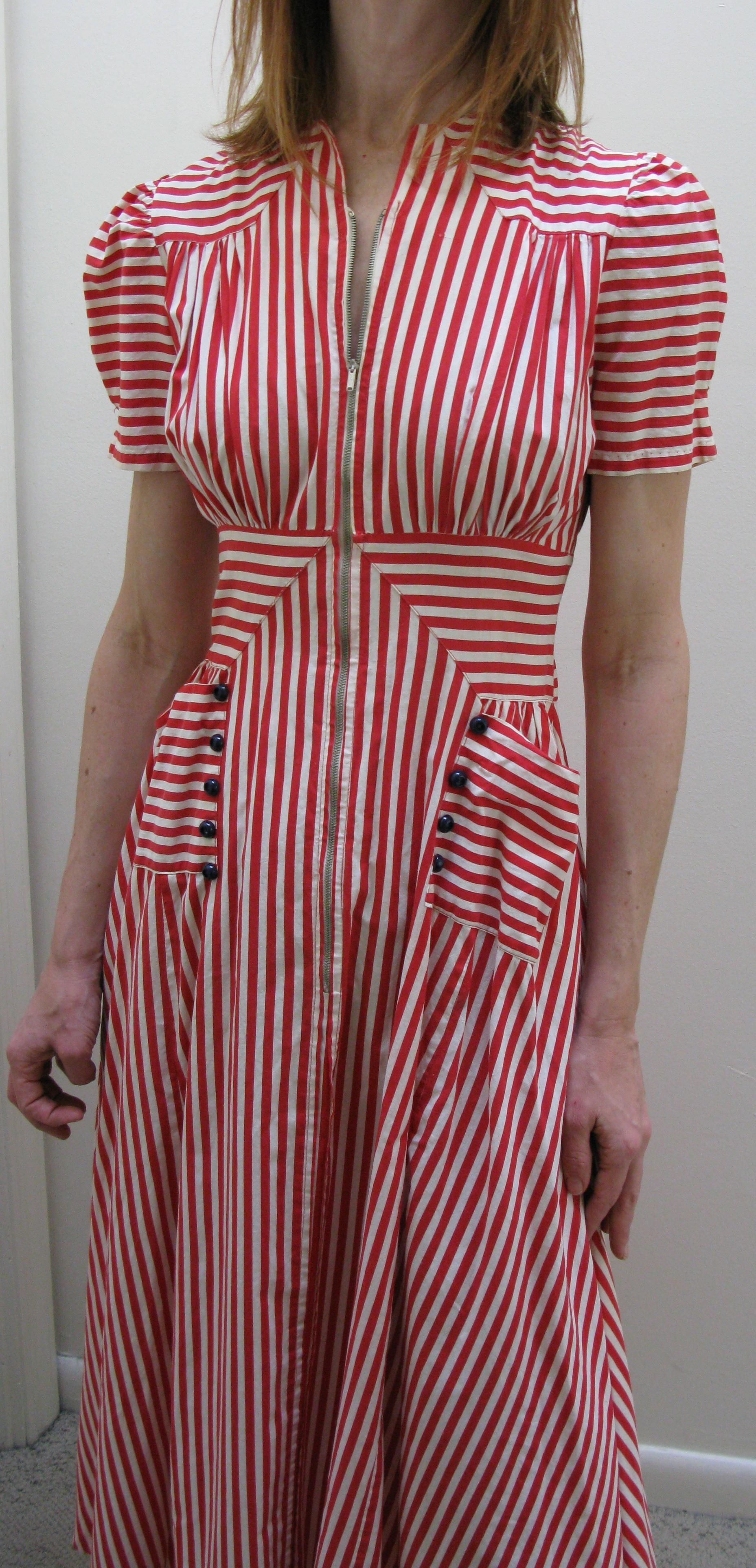 40s striped dress with pockets