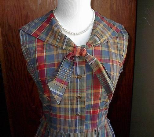 plaid sailor collar dress