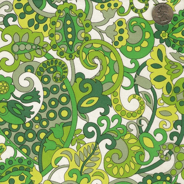 green stretch paisley twill