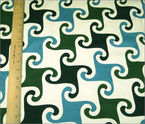 Fine Cotton Lycra Stretch Blend Ecru with Dark Green, Teal and Black Geometric Print