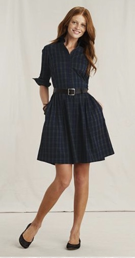 Lands End Canvas plaid dress