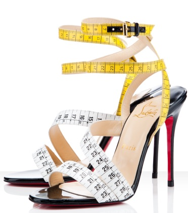 Louboutin tape measure shoes